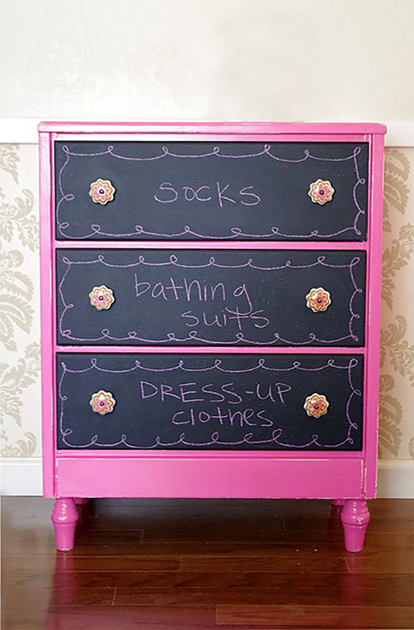 This chalkboard dresser is great for experimenting!