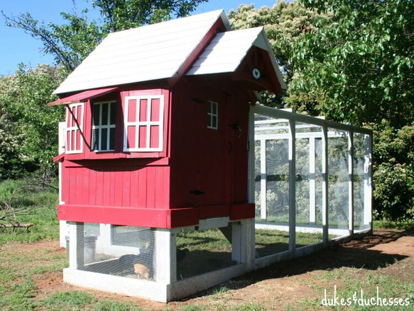 Give your old playhouse a new purpose by turning it into a DIY chicken coop!