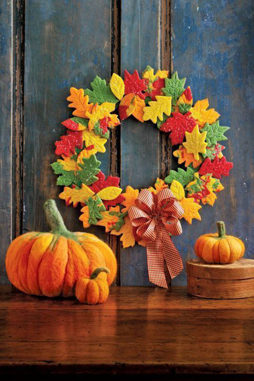 How cute is the DIY fall wreath made out of cookies?
