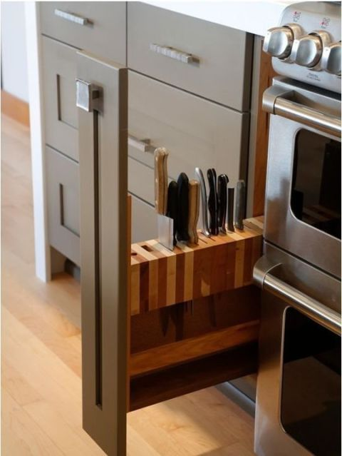 a slim pull-out knife drawer
