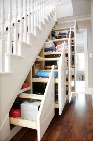 use the space under your stairs for organization