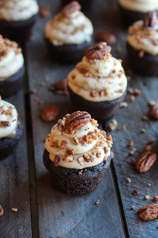 Add a pecan on top to create the culinary masterpiece that is bourbon cupcakes