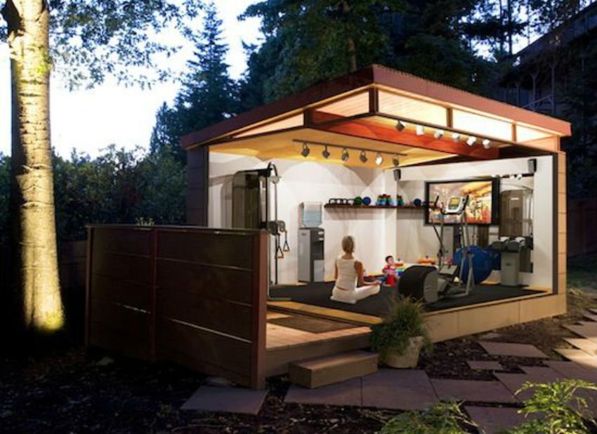 What about having a shed transformed into a gym in the backyard? Image Source: Pinterest