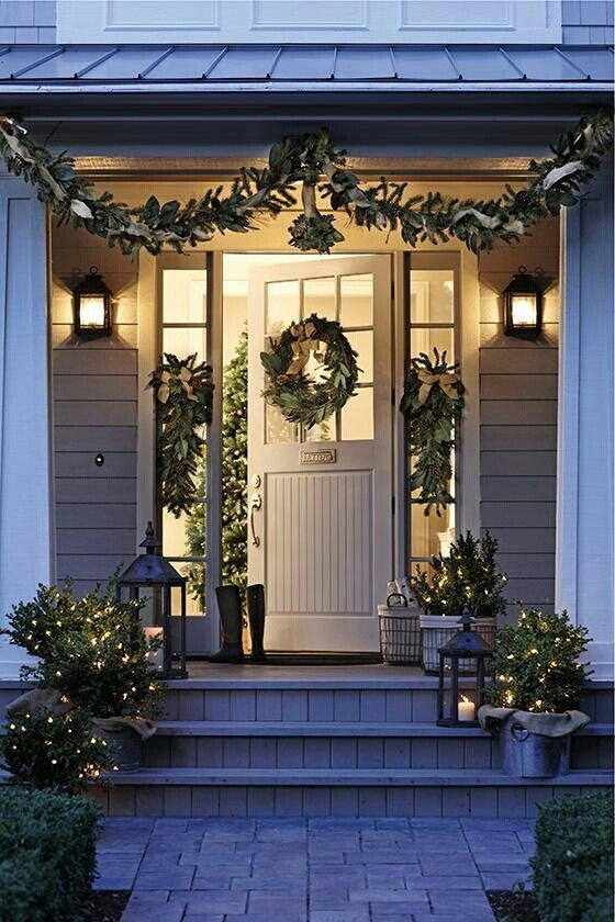 Using green in your front porch decorating is a wonderful way to show your holiday spirit.