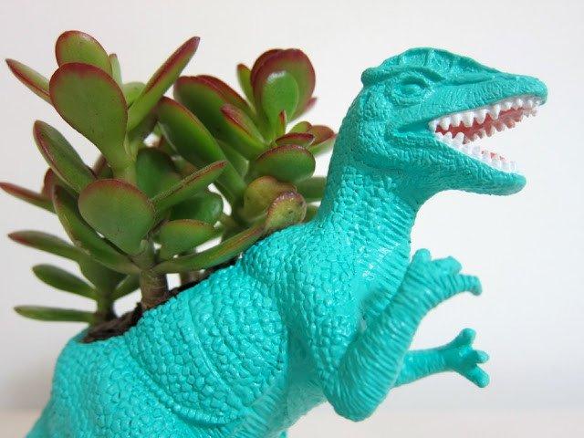 use a hollow dinosaur to make a succulent planter