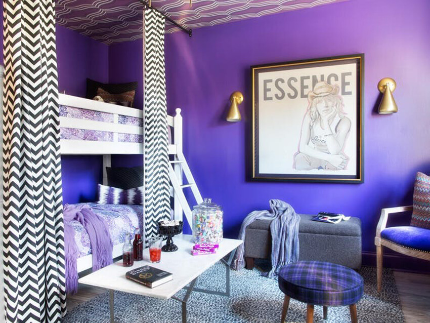 A beautiful and magical room decorated with Pantone's Ultra Violet.
