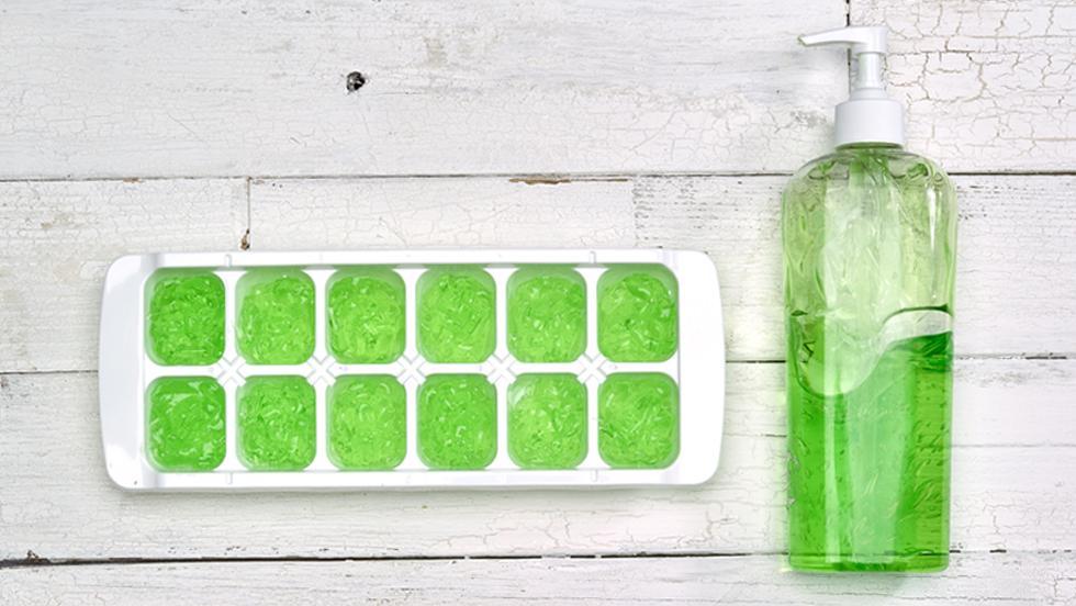 Freeze aloe vera for sunburn relief