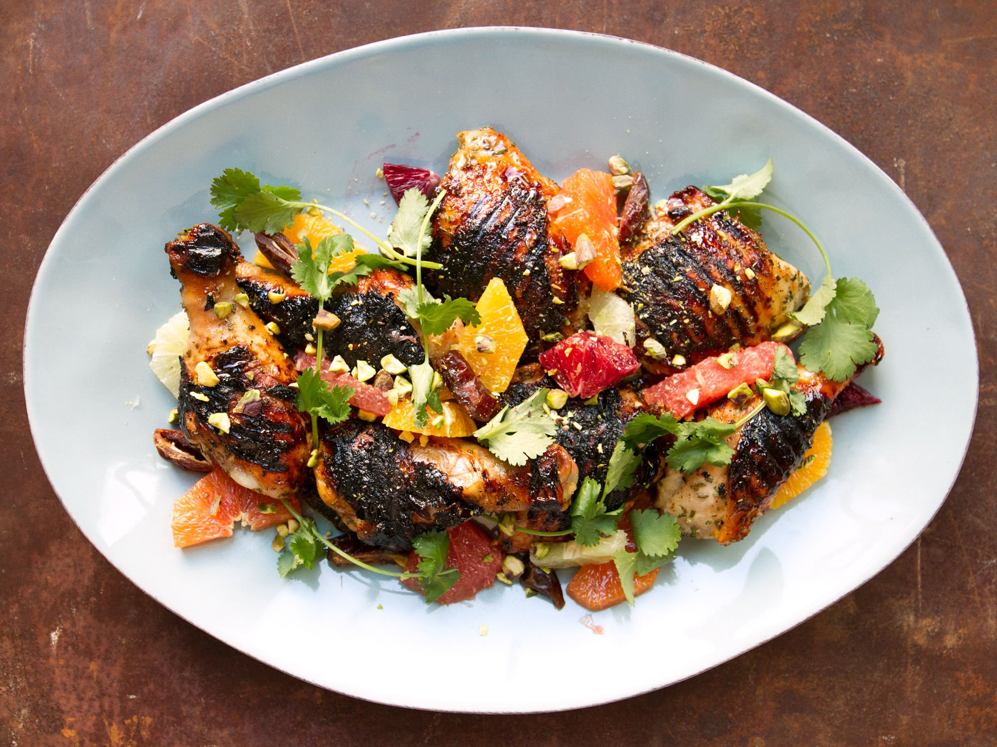 spring inspired honey grilled chicken with citrus salad