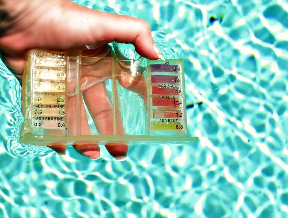 Test the pool water levels with a kit