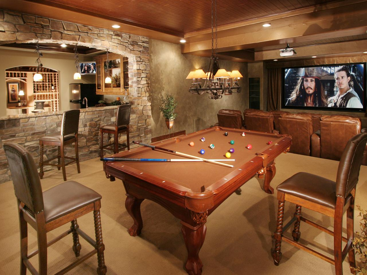 Basement man cave that can provide comfort during the cold months