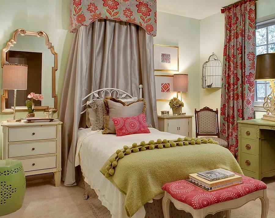 This lovely girl's bedroom is uniquely colored and decorated