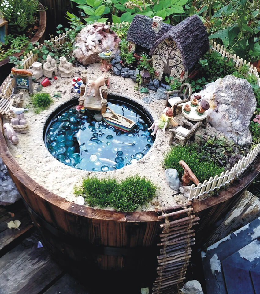 Give your fairy garden some personality with a miniature lake!