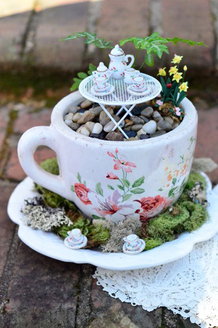 If you don't have a lot of space in your yard, try a teacup fairy garden!