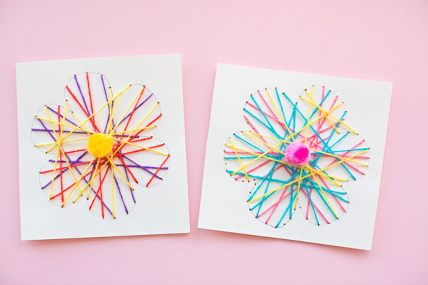 String art is super cute and easy, and it makes the perfect Mother's Day card!