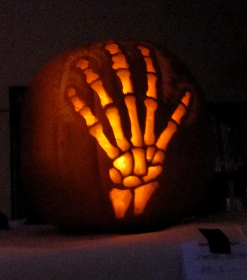 A skeleton hand makes for a creepy Halloween decoration
