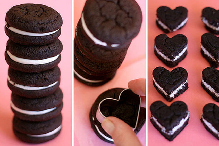 Use Oreo Cakesters to make these adorable Oreo hearts!