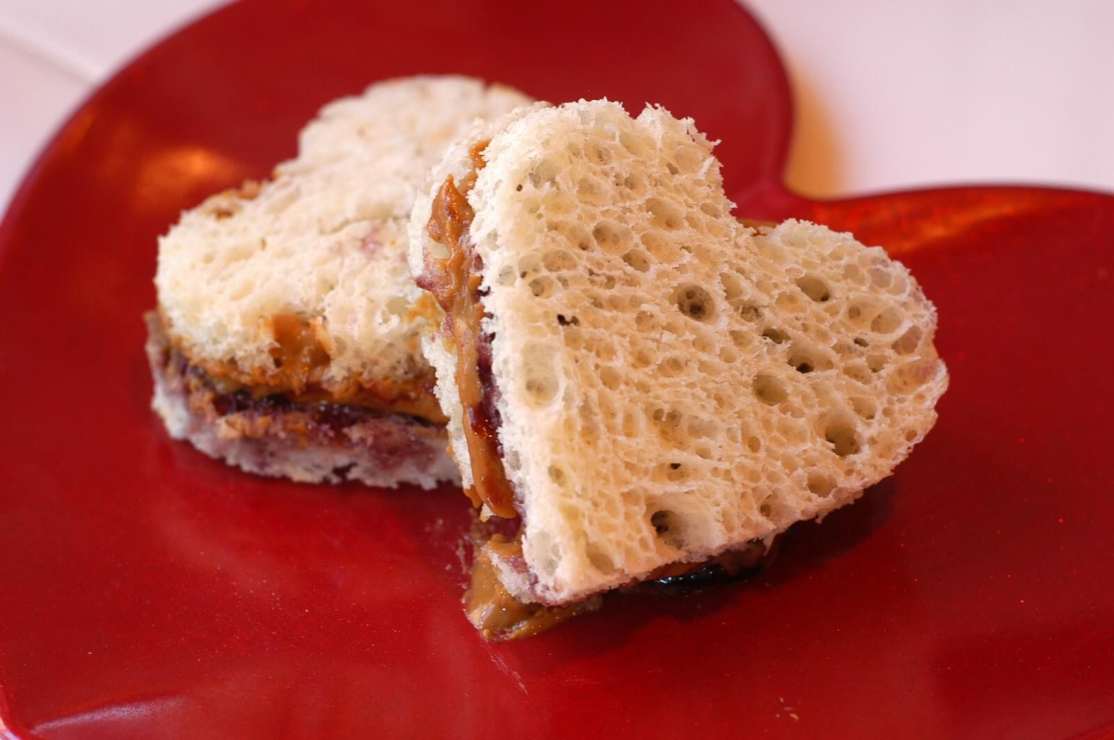 Cut peanut butter and jelly sandwiches into little shapes