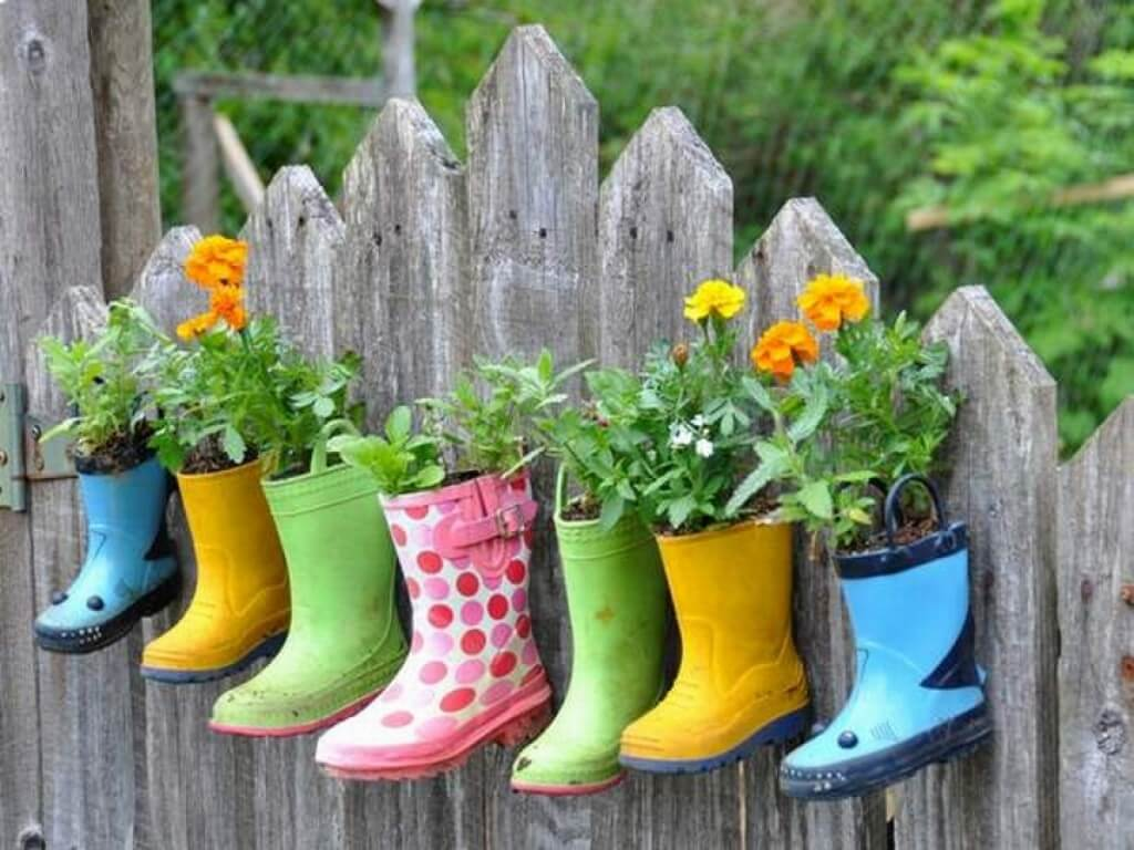A hanging boot garden for the backyard landscaping