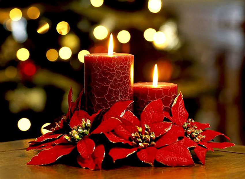 Poinsettias Candles Decorating