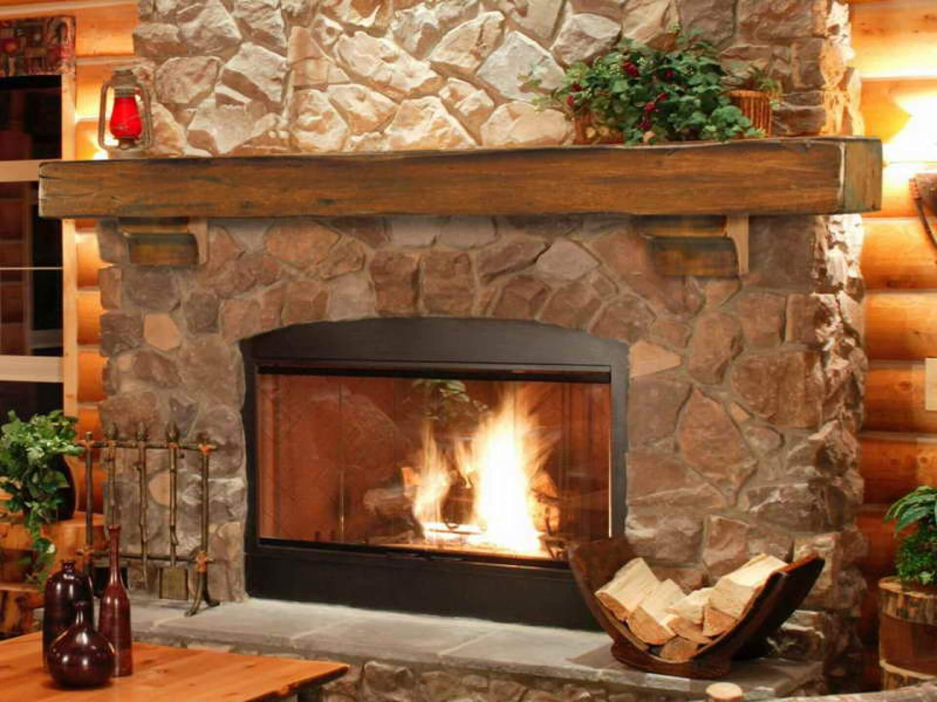 Stone slab fireplaces are still a thing of beauty