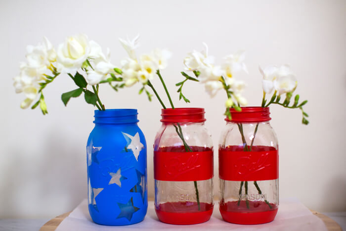 Mason jars can be painted like the flag
