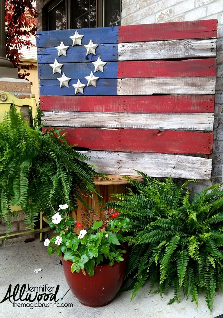 Wooden signs are a rustic form of patriotic decor