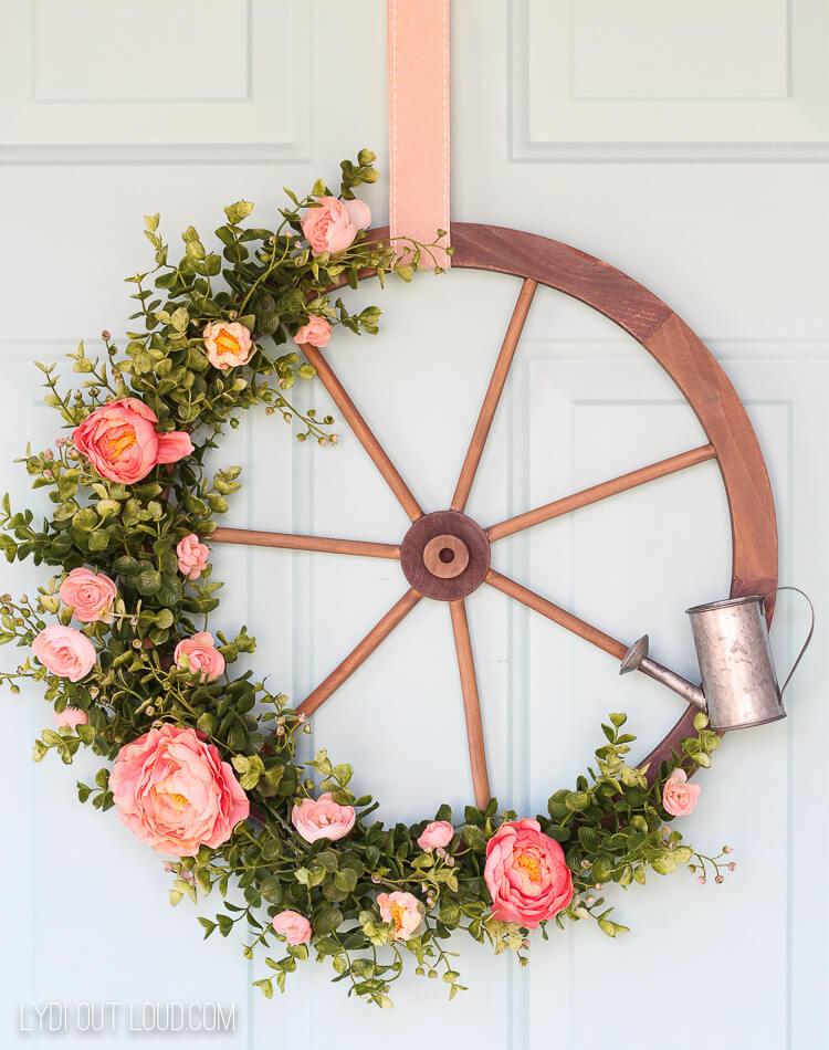 Wagon wheel summer front door wreath