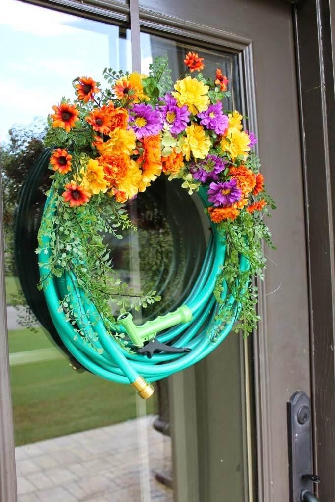 A garden hose can also be a great summer decor piece