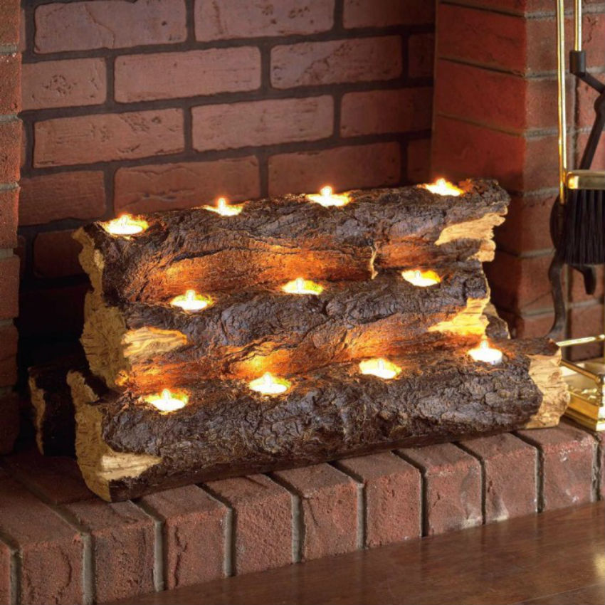 Instead of setting the logs on fire, light the fire inside the logs. Image Source: Furniture Fashion