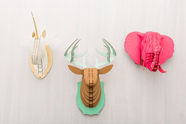 3-D cardboard animal heads is a cute way to add some color and fun to your walls.