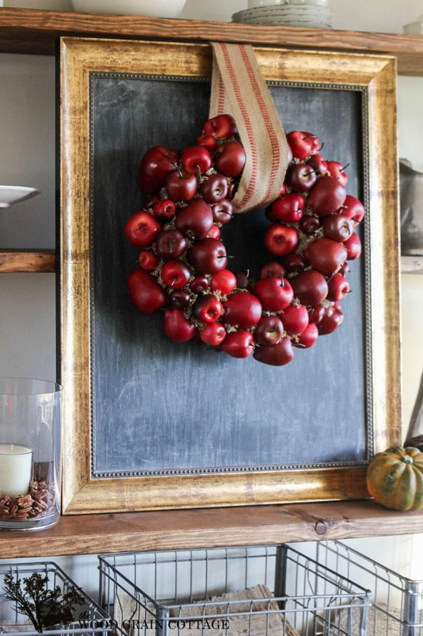 Apples are a time-honored fall symbol, so why not make a wreath out of them?