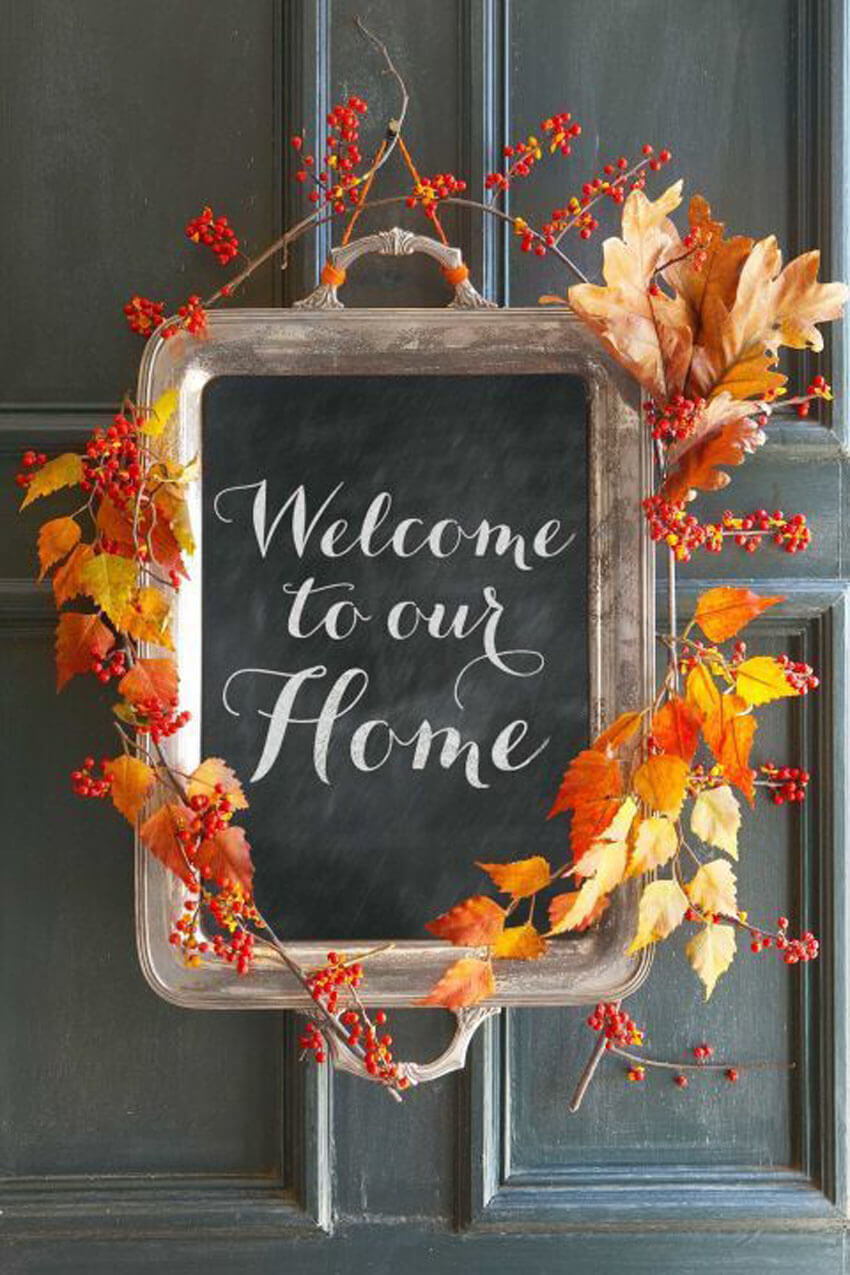 Use a tray for a non-traditional DIY fall wreath.