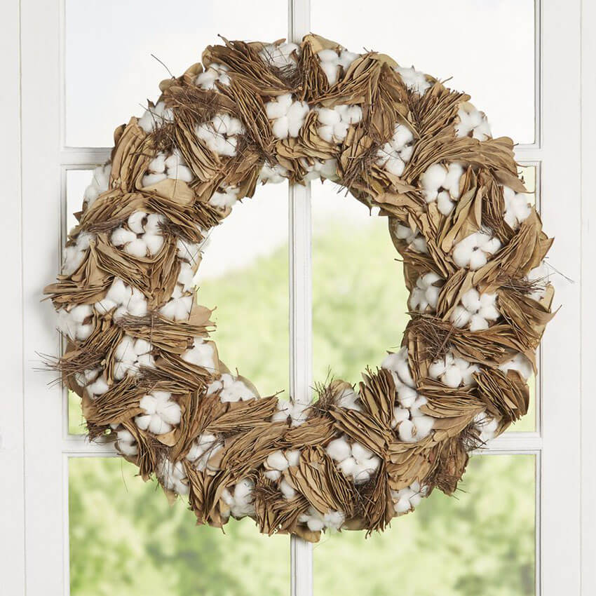 This DIY cotton and dried leaves wreath is another way to show your rustic style.