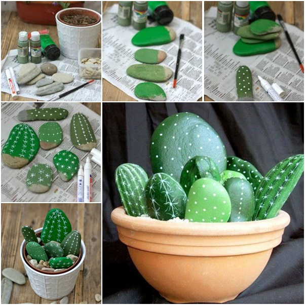 If you have trouble keeping plants alive, simply make your own plants out of pebbles! Find some pebbles in varying shapes and sizes and paint them to look like plants.