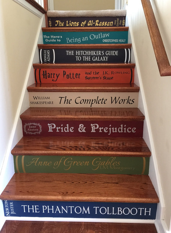 Turn your staircase into a book case by painting book spines on your steps.