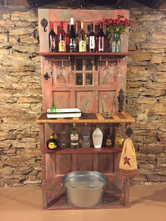 Upcycled front door for a unique bar