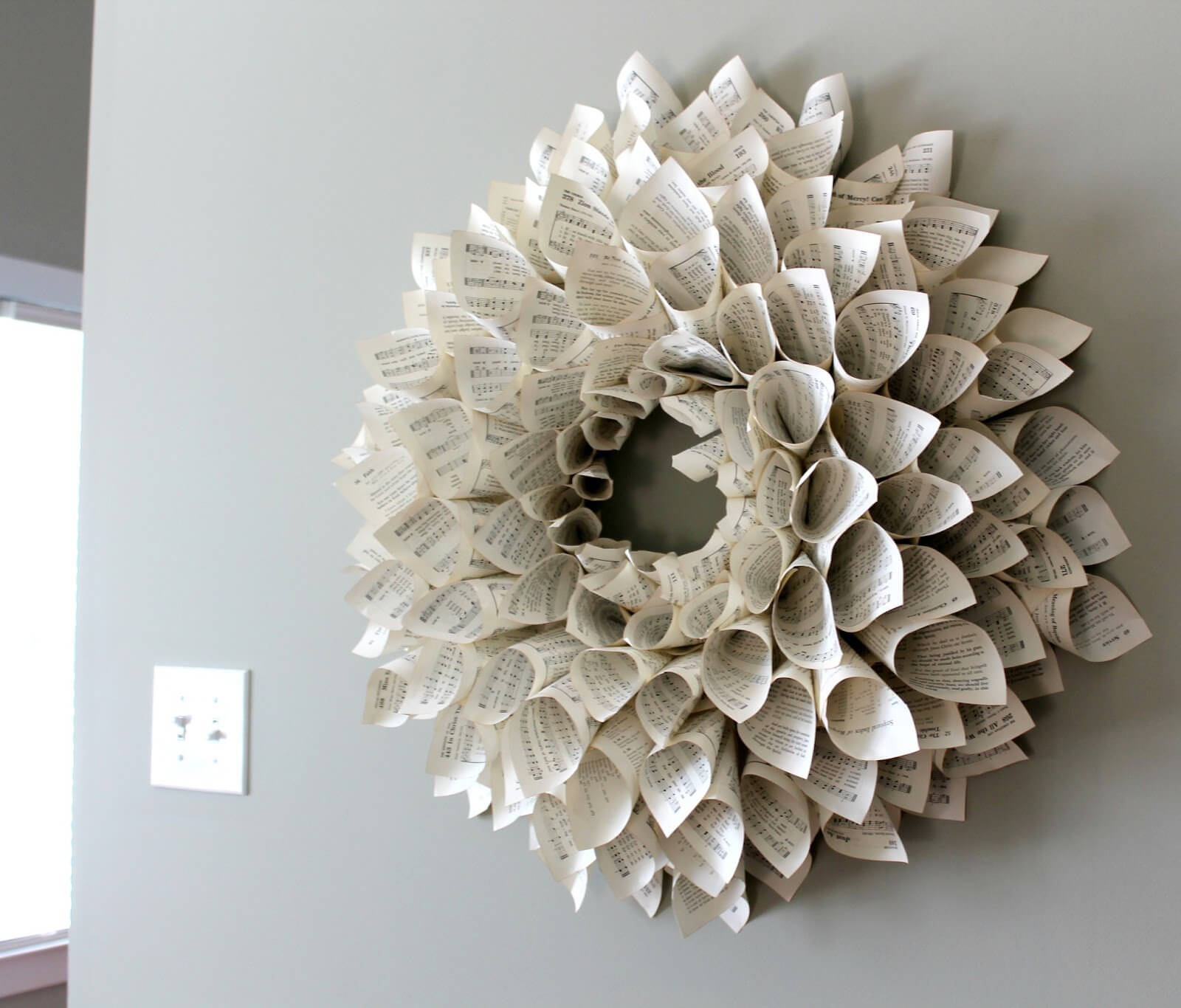 Paper wreath made from old or destroyed books