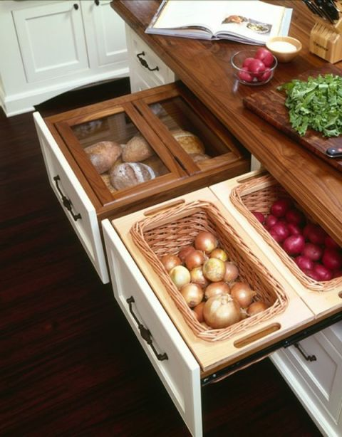 create a drawer for potatoes, onions, and bread