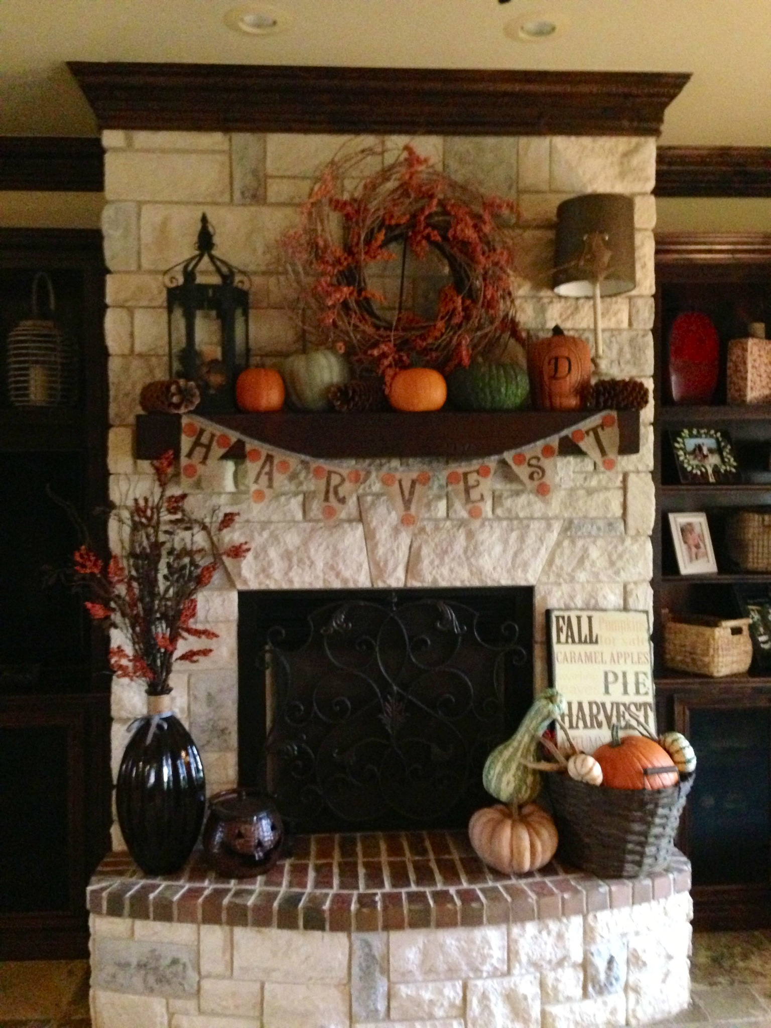 Fall decor on a fireplace mantel. No better way to celebrate the season than with DIT home interior decorations.