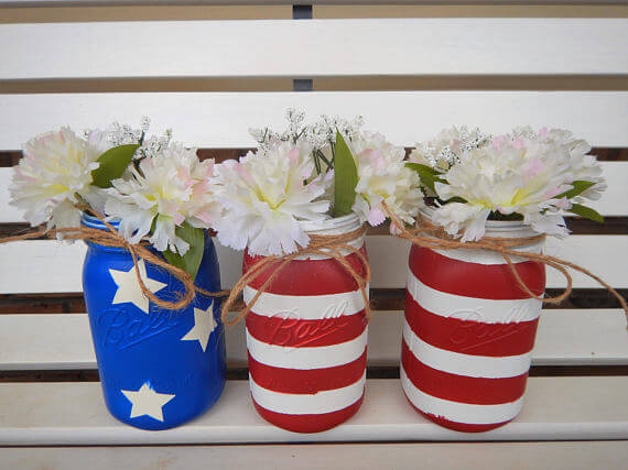 Fourth of July decorations like these patriotic mason jars