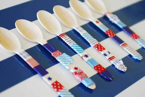Fourth of July crafts like these taped up plastic ware