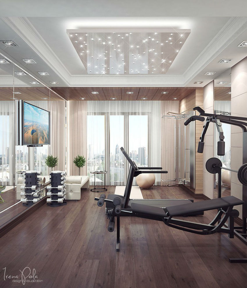 This home gym is so chic you'd want to work out for hours just to be there. Image Source: Flooring Inc