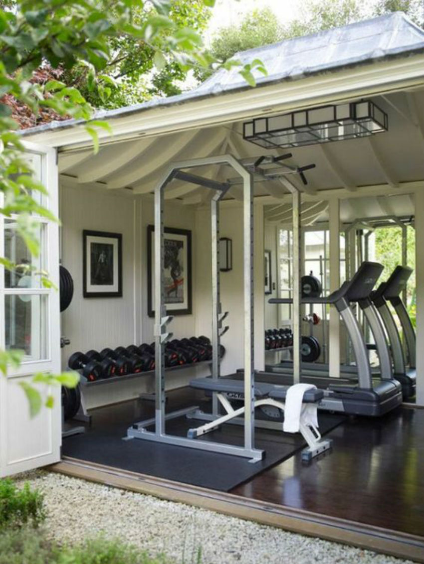 Here the garage was turned into a gym. Image Source: Pinterest