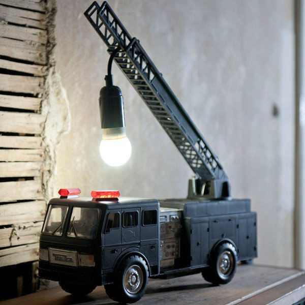 old fire truck made into a cool lamp