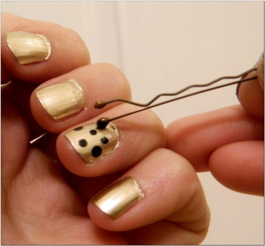 A great way to get started with nail decoration. Polka dots!