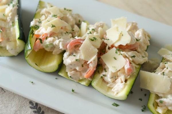 spring inspired chicken salad stuffed zucchini boats