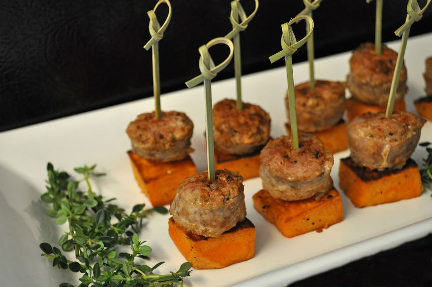 These sweet potato appetizers are great for any party. Dip them in Lemon Garlic Mayo! Image Source: Tummy Temptations