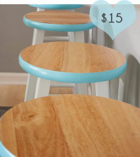 Dull plain stools will look great with simple work. Image Source: Good Housekeeping