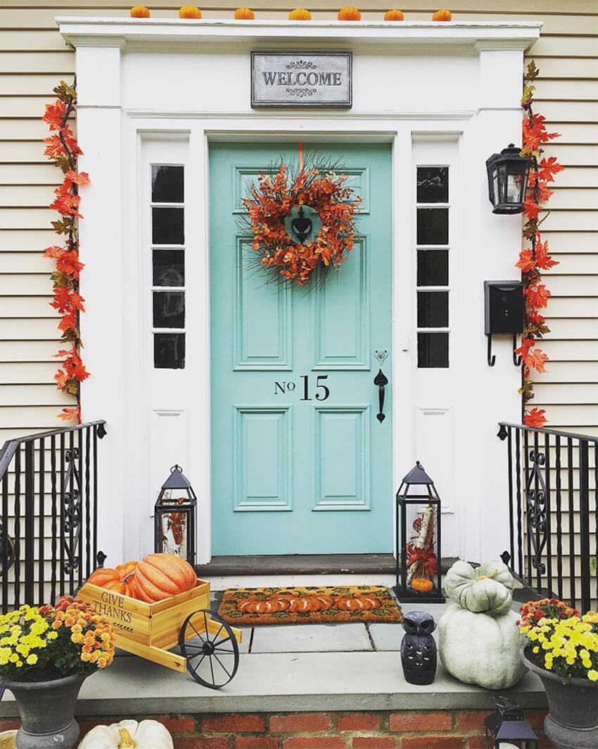 Sky blue is a beautiful color for a front door if you want more of a subtle color.