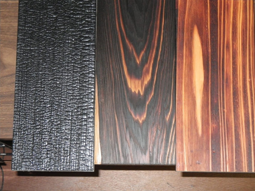 Different types of burned wood flooring.
